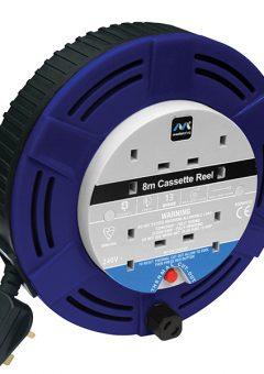 Cassette Cable Reel 8 Metre 4 Socket Thermal Cut-Out Blue 13A 240 Volt 9