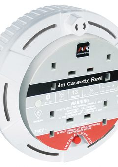 Cassette Cable Reel 4 Metre 4 Socket Thermal Cut-Out White 13A 240 Volt 7