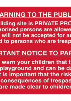 Building Site Warning To Public And Parents - PVC 600 x 400mm 8