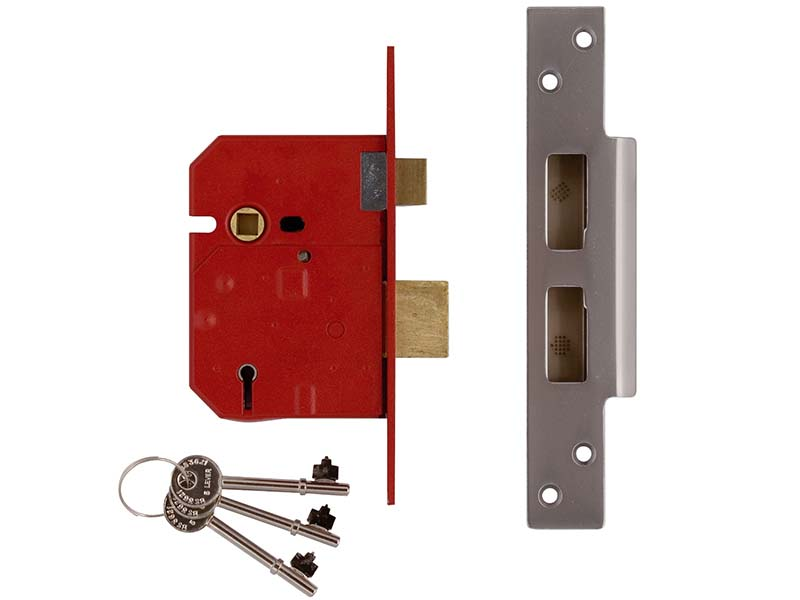 2234E 5 Lever BS Mortice Sashlock Plated Brass Finish 79.5mm 3 in Visi 1