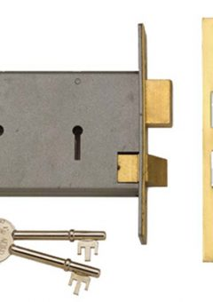 2077-5 3 Lever Horizontal Mortice Lock Polished Brass 124mm 2