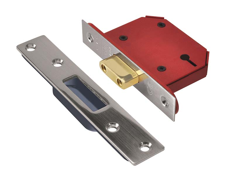 StrongBOLT 2103S 3 Lever Mortice Deadlock Stainless Steel 81mm 3in Visi 1