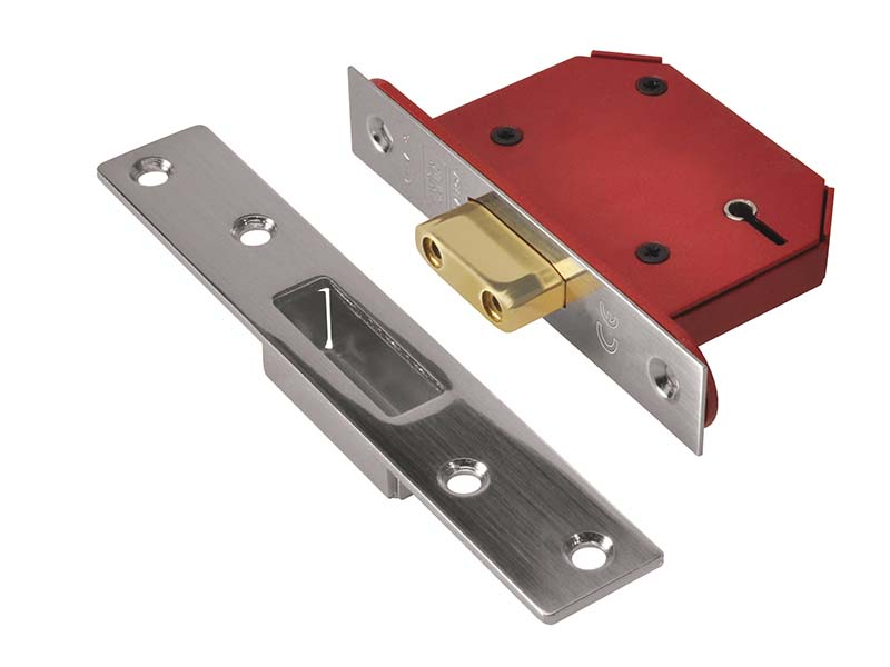 StrongBOLT 2105S Stainless Steel 5 Lever Mortice Deadlock Visi 68mm 2.5in 1