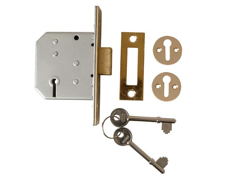 2177 3 Lever Mortice Deadlock Polished Brass 65mm 2.5in Visi 1