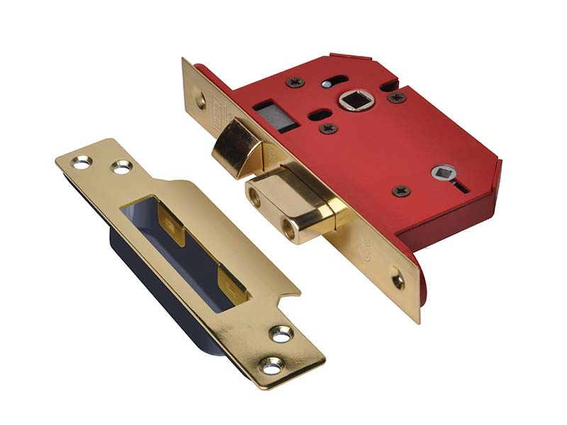 StrongBOLT 22WCS Mortice Bathroom Lock Polished Brass 68mm 2.5in Visi 1