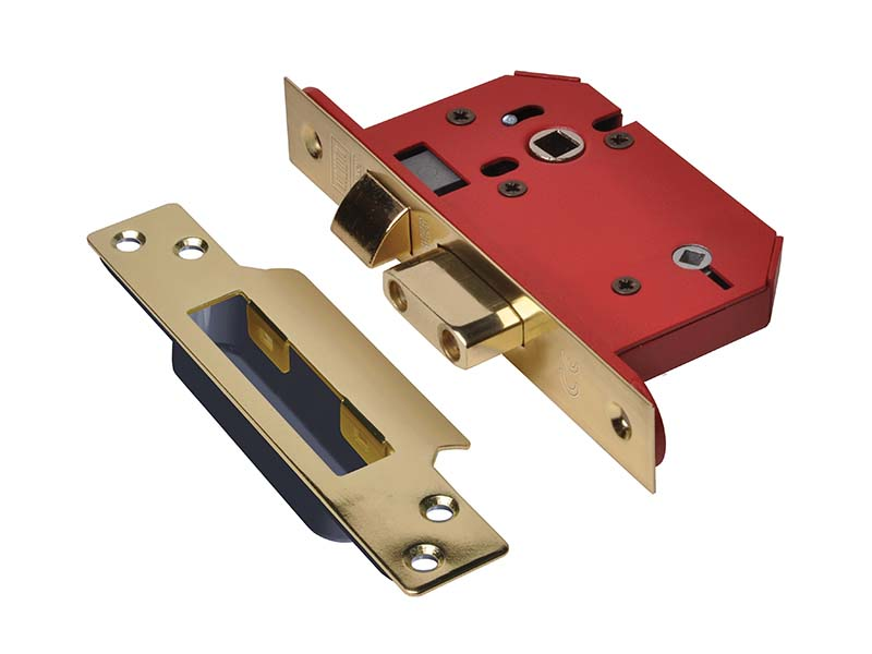 StrongBOLT 22WCS Mortice Bathroom Lock Polished Brass 81mm 3in Visi 1