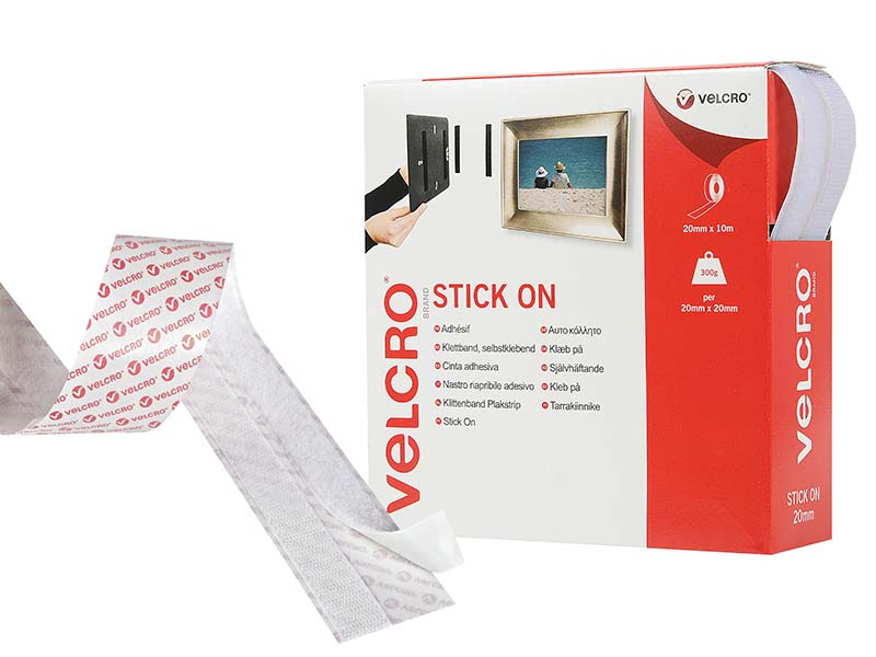 VELCRO® Brand Stick On Tape 20mm x 10m White 1