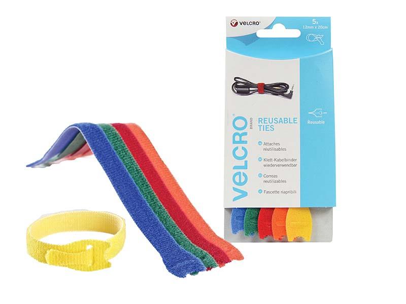 VELCRO® Brand ONE-WRAP® Reusable Ties (5) 12mm x 20cm Multi-Colour 1