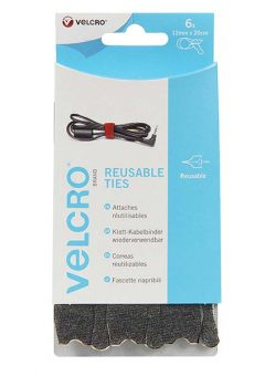 VELCRO® Brand ONE-WRAP® Reusable Ties (6) 12mm x 20cm Black 1