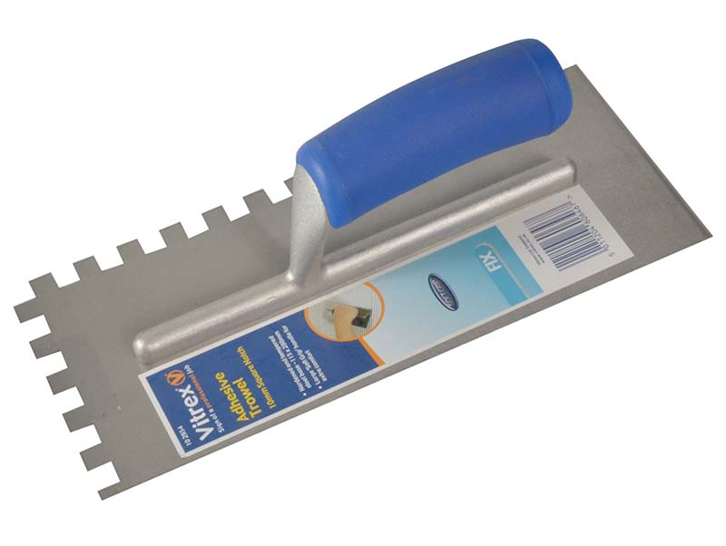 Notched Adhesive Trowel Square 10mm Soft Grip Handle 11 x 4.1/2in 1