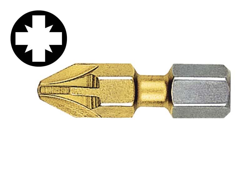 Pozidriv 3pt Titanium Coated Screwdriver Bits 25mm (Card of 2) 1