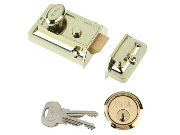 P77 Traditional Nightlatch 60mm Backset Brasslux Finish Box 1