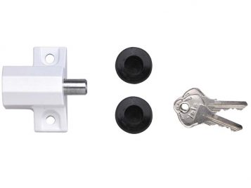 P114 Patio Door Lock White Finish Visi-pack 1