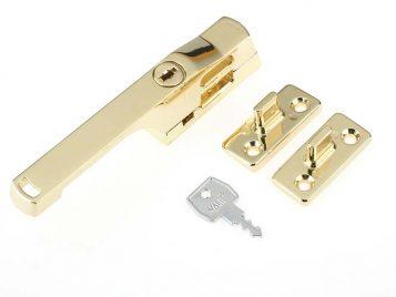 P115PB Lockable Window Handle Polished Brass Finish 1