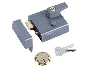 P1 Double Security Nightlatch 60mm Backset DMG Dark Grey Finish Visi 1
