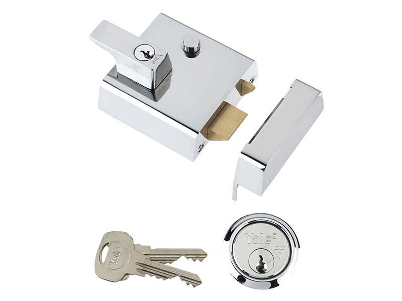 P2 Double Security Nightlatch 40mm Backset Chrome Finish Visi 1