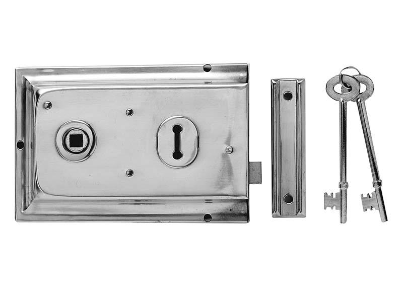 P334 Rim Lock Chrome Finish 156 x 104mm Visi 1