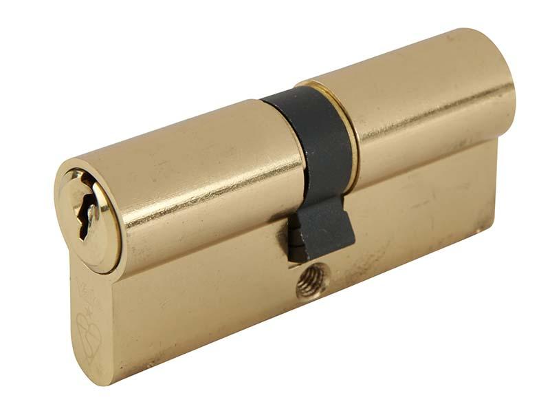 Euro Double Cylinder Kitemark 35 x 35 (80mm) Polished Brass Visi 1