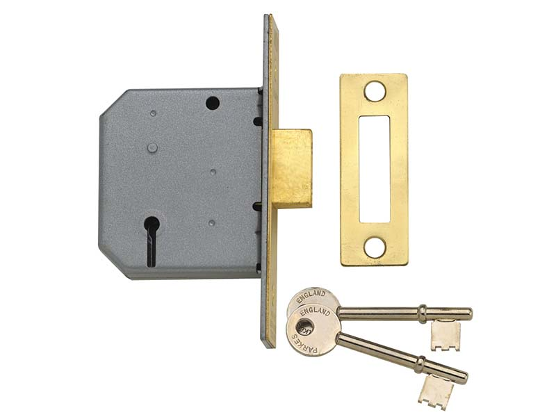 PM322 3 Lever Mortice Deadlock Polished Brass 65mm 2.5in 1