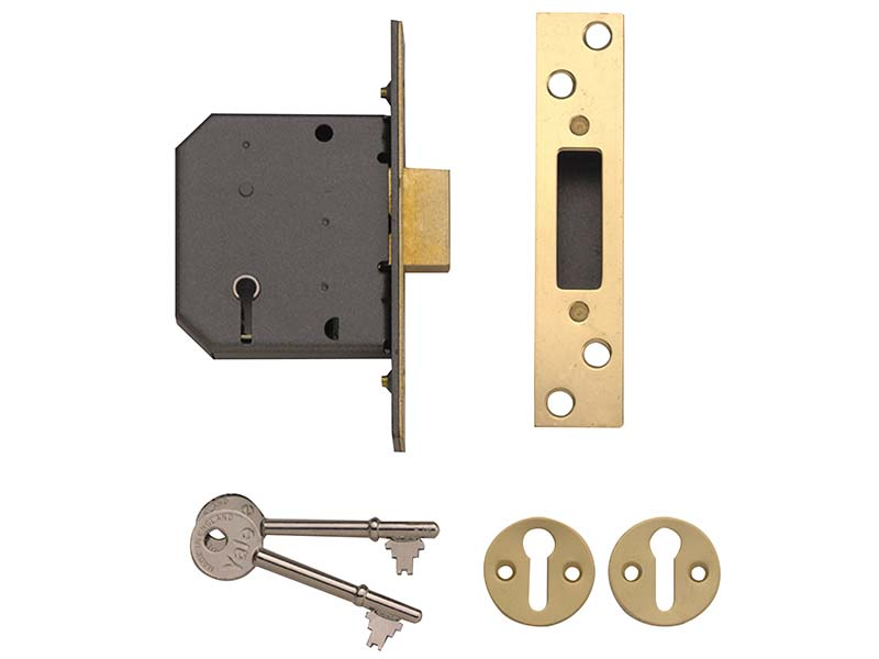 PM552 5 Lever Mortice Deadlock 67mm 2.5in Polished Brass 1