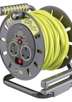 PRO-XT Open Cable Reel 25m 13A 2 Socket & 2 USB 2
