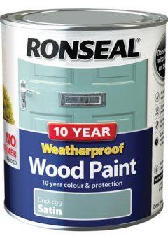 10 Year Weatherproof Wood Paint Duck Egg Blue Satin 750ml 4