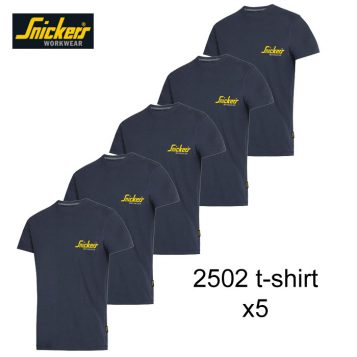 Snickers 2502 Classic T-Shirt Navy | Pack Of 5 1