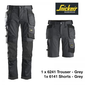 Snickers Workwear 6241 6141 grey shorts trouser bundle