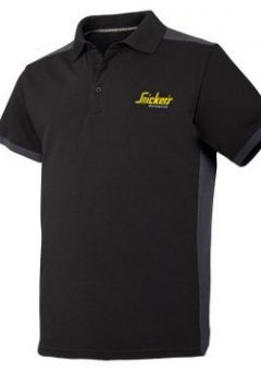 Snickers Polo T Shirt - Black & Steel Grey 4