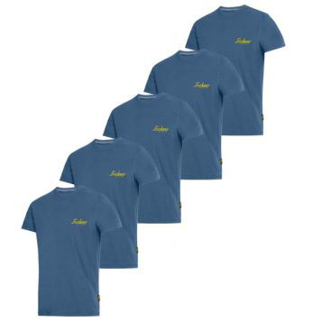 Snickers 2502 Classic T-Shirt Blue With Snickers Logo x 5 1