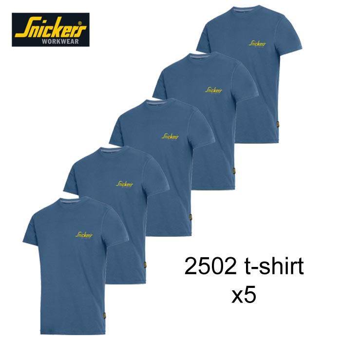 b580a34c1d9 Snickers 2502 Classic T-Shirt Blue With Snickers Logo x 5