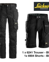 Snickers 6241 Stretch Trouser + Snickers Shorts 6904 - Black