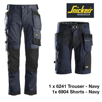 Snickers 6241 Stretch Trouser + Snickers Shorts 6904 – Navy