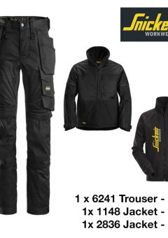 Snickers Trousers 6241 Allround Stretch - Black & Snickers Jacket 1148 & Snickers Sweatshirt Jacket 2836 4