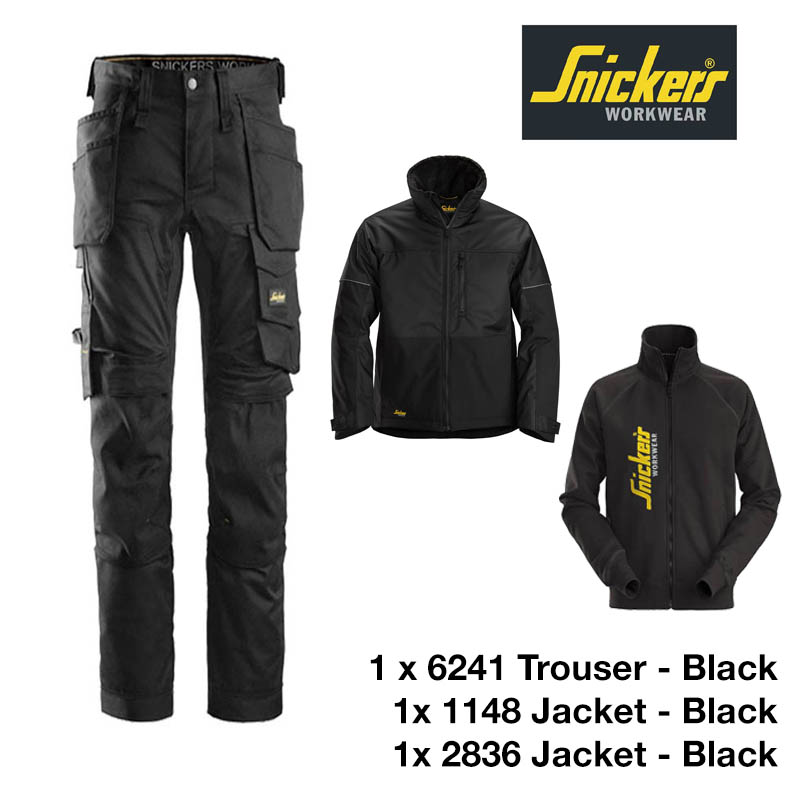 Snickers Trousers 6241 Allround Stretch - Black & Snickers Jacket 1148 & Snickers Sweatshirt Jacket 2836 1