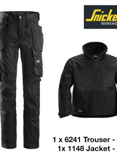 Snickers Trousers 6241 Allround Stretch - Black & Snickers Jacket 1148 - Black 3