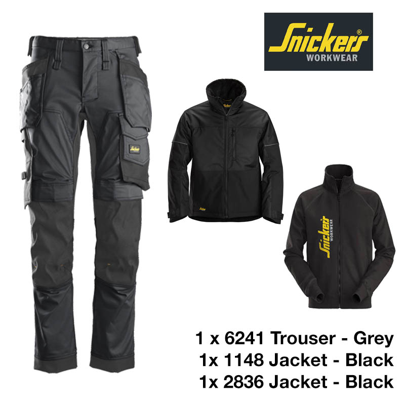 Snickers Trousers 6241 Allround Stretch - Steel Grey & Snickers Jacket 1148 & Snickers Sweatshirt Jacket 2836 1