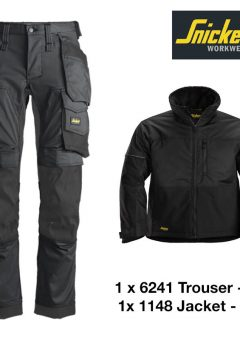 Snickers Trousers 6241 Allround Stretch – Steel Grey & Snickers Jacket 1148 - Black 5