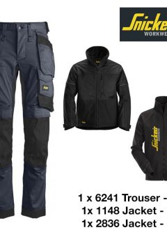 Snickers Trousers 6241 Allround Stretch - Navy & Snickers Jacket 1148 & Snickers Sweatshirt Jacket 2836 6