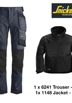 Snickers Trousers 6241 Allround Stretch - Navy & Snickers Jacket 1148 - Black 5