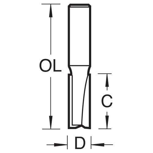 TREND 3/22X1/4TC - Two flute cutter 6.3mm diameter 2