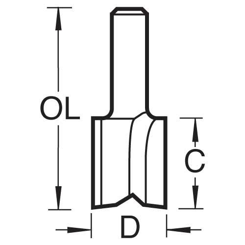 TREND 3/8LX1/4TC - Two flute cutter 12mm diameter 2