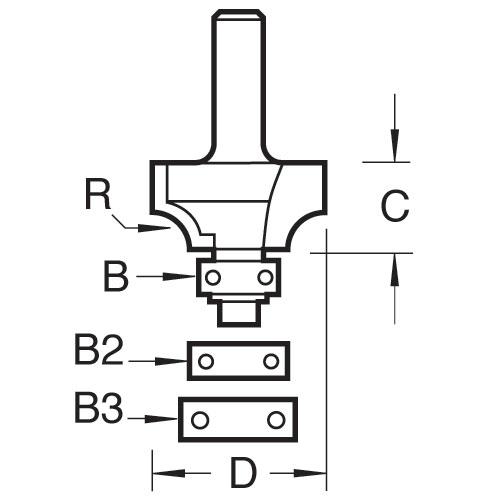 TREND 40/13X1/2TC - Bearing guided ovolo cutter 6.3mm radius 2