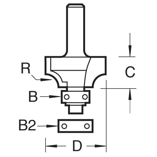 TREND 46/130X1/2TC - Bearing guided ovolo cutter 6.3mm radius 2
