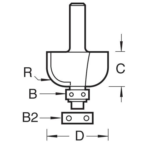 TREND 46/280X1/2TC - Bearing guided cove cutter 12.7mm radius 2