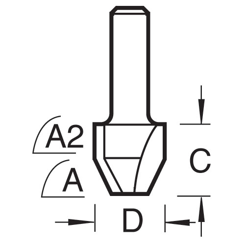 TREND 47/7X1/4TC - Combi trimmer cutter 12.7mm diameter C1=9 C2=4mm length 2