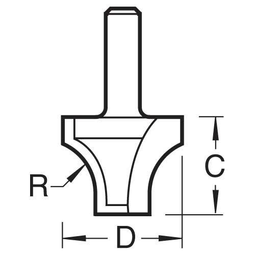 TREND C073AX1/4TC - Sash bar ovolo joint cutter 10mm radius 2