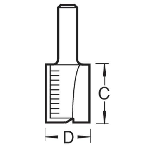 TREND C021SX1/4TC - Two Flute 12.7mm Diameter x 25mm Cut Scale 2