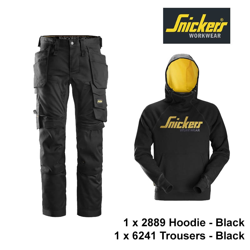 Snickers 6241 Trouser (Black) & 2889 Hoodie (Black)