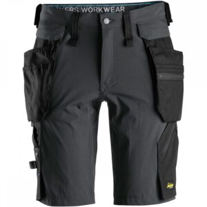 Snickers 6108 LiteWork Shorts With Detachable Holster Pockets - Steel Grey